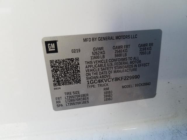 2019 Chevrolet SILVERADO | Vin: 1GC4KVCY8KF229990