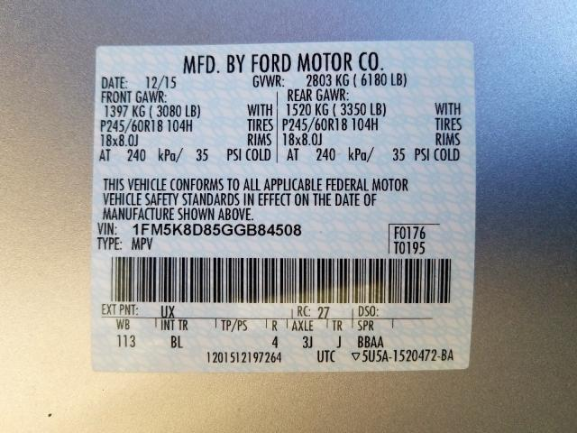 2016 Ford EXPLORER   Vin: 1FM5K8D85GGB84508