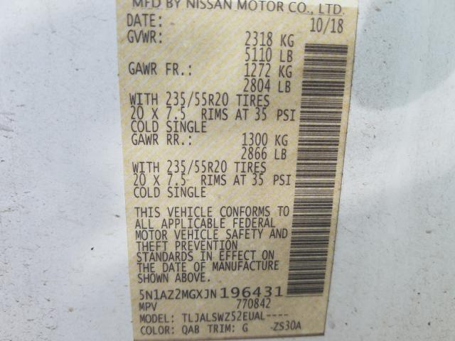 2018 Nissan    Vin: 5N1AZ2MGXJN196431