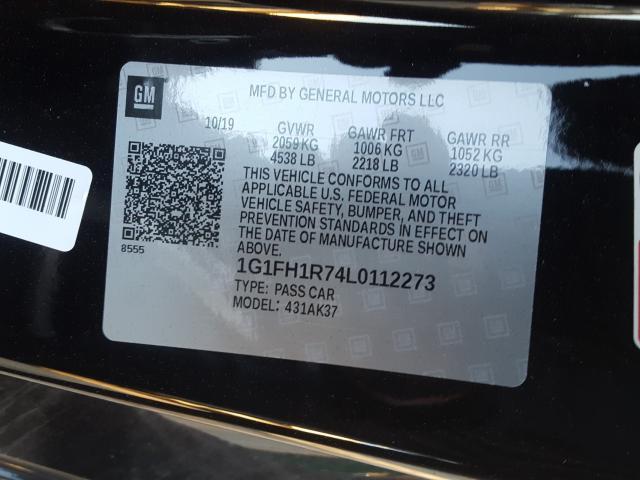 2020 Chevrolet CAMARO   Vin: 1G1FH1R74L0112273