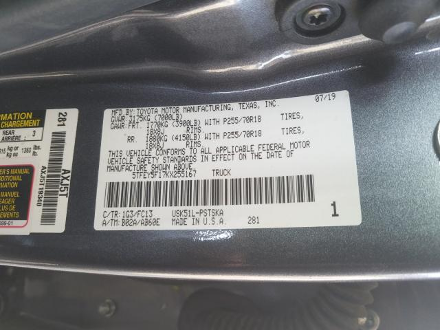 2019 Toyota    Vin: 5TFEY5F17KX255167