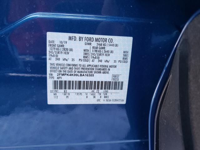 2020 Ford  | Vin: 2FMPK4K99LBA16305