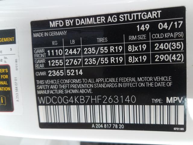 2017 Mercedes-Benz GLC | Vin: WDC0G4KB7HF263140