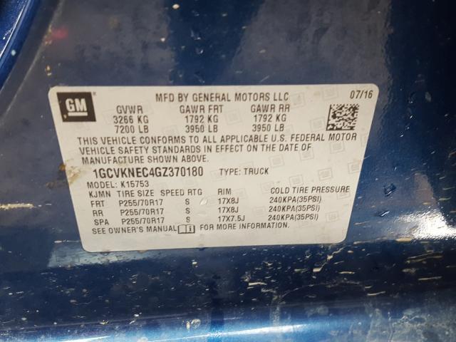 2016 Chevrolet SILVERADO | Vin: 1GCVKNEC4GZ370180