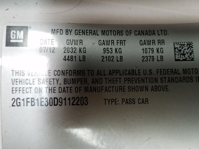 2013 Chevrolet    Vin: 2G1FB1E30D9112203
