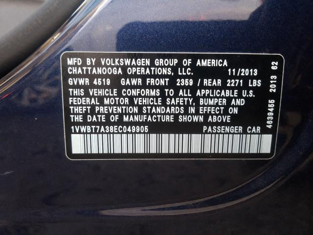 2014 Volkswagen  | Vin: 1VWBT7A38EC049905