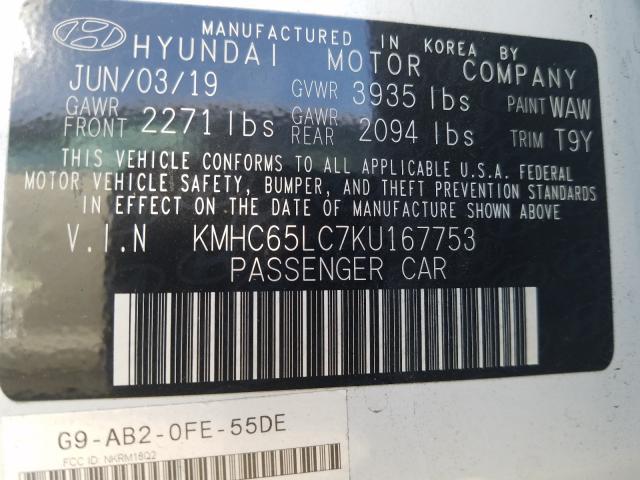 2019 Hyundai  | Vin: KMHC65LC7KU167753