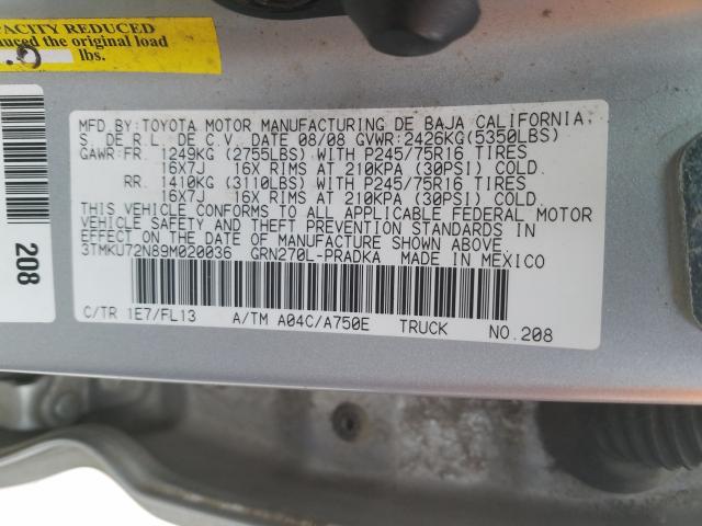 3TMKU72N89M020036 - 2009 Toyota Tacoma Dou 4.0L