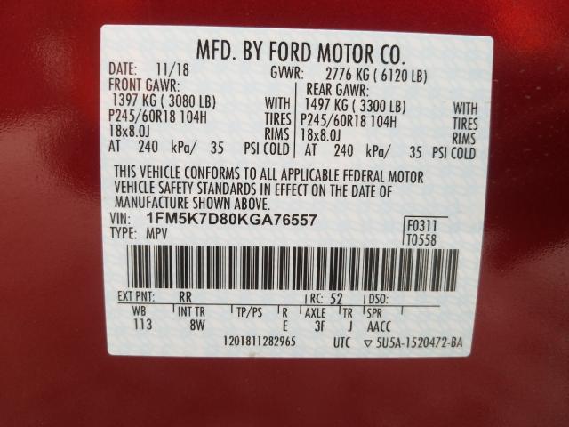 2019 Ford  | Vin: 1FM5K7D80KGA76557