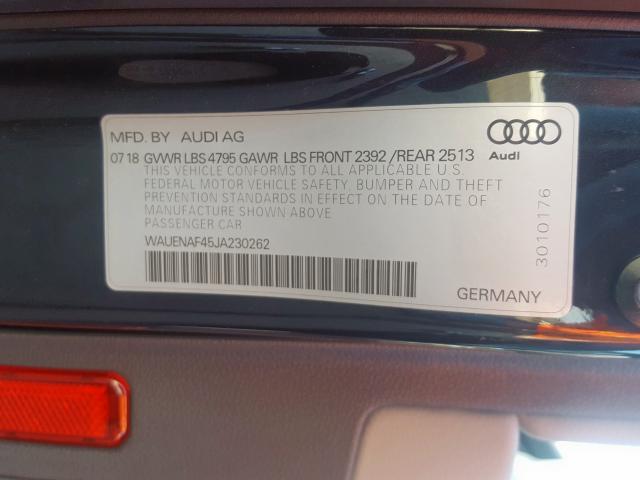 2018 Audi A4 | Vin: WAUENAF45JA230262
