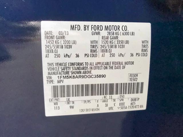 1FM5K8AR9DGC35890 - 2013 Ford Explorer P 3.7L