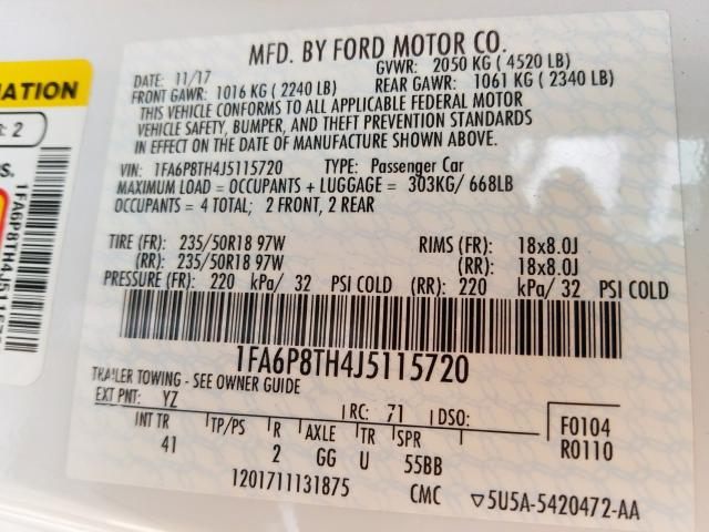 1FA6P8TH4J5115720 - 2018 Ford Mustang 2.3L