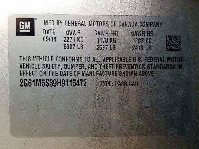 2017 Cadillac XTS | Vin: 2G61M5S39H9115472
