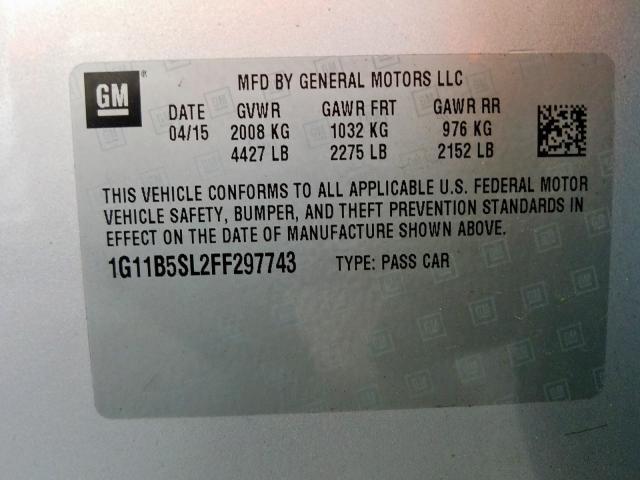 2015 Chevrolet  | Vin: 1G11B5SL2FF297743