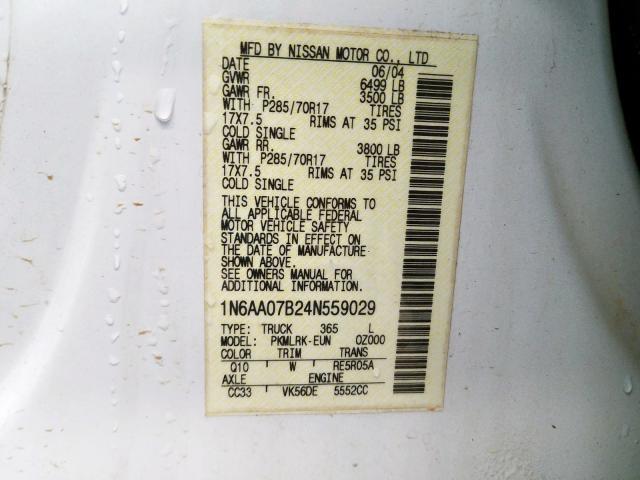 1N6AA07B24N559029 - 2004 Nissan Titan Xe 5.6L