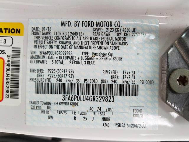 2016 Ford    Vin: 3FA6P0LU4GR329823