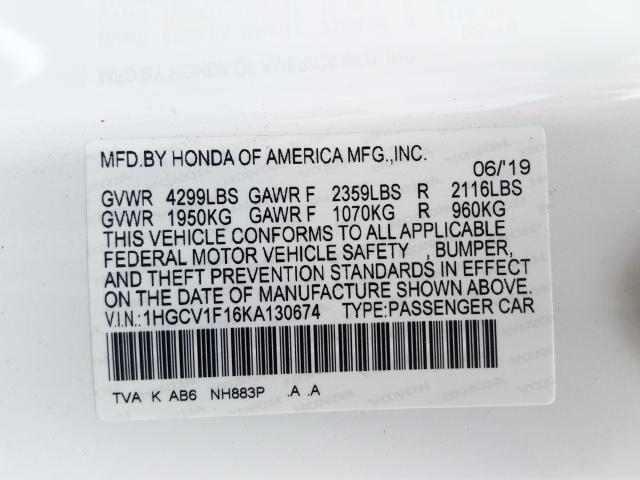 2019 Honda ACCORD | Vin: 1HGCV1F16KA130674