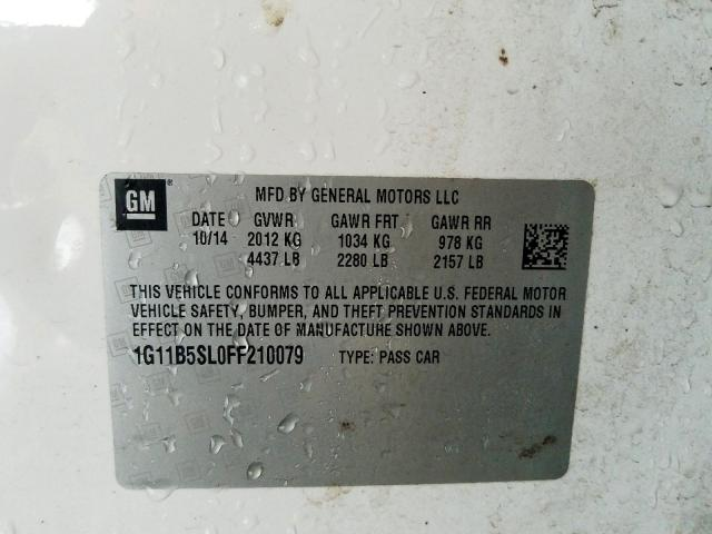 1G11B5SL0FF210079 - 2015 Chevrolet Malibu Ls 2.5L