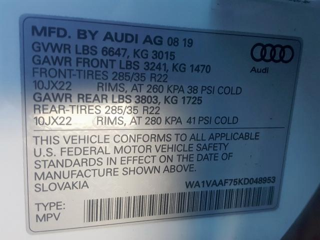 2019 Audi Q7 PRESTIGE | Vin: WA1VAAF75KD048953