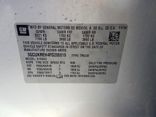 2015 Chevrolet SILVERADO | Vin: 3GCUKREH4FG206019