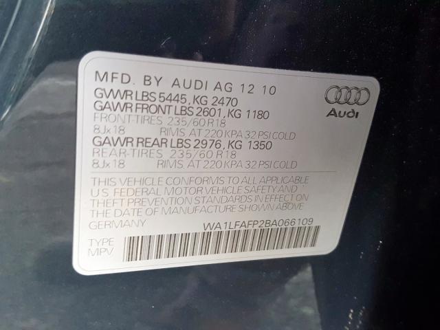 2011 AUDI Q5 PREMIUM WA1LFAFP2BA066109