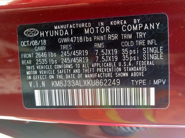 2019 Hyundai TUCSON | Vin: KM8J33ALXKU862249