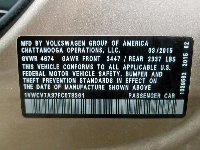2015 Volkswagen PASSAT | Vin: 1VWCV7A37FC078361