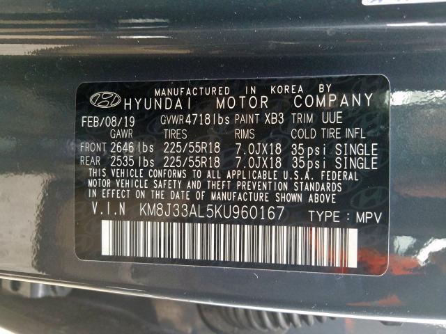 2019 Hyundai TUCSON | Vin: KM8J33AL5KU960167