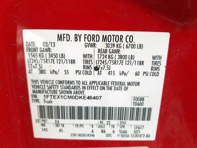 2013 Ford  | Vin: 1FTEX1CM0DKE46407
