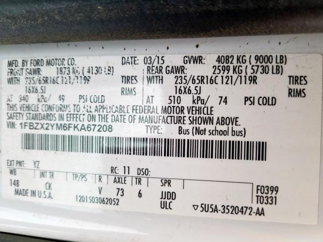 2015 Ford TRANSIT | Vin: 1FBZX2YM6FKA67208