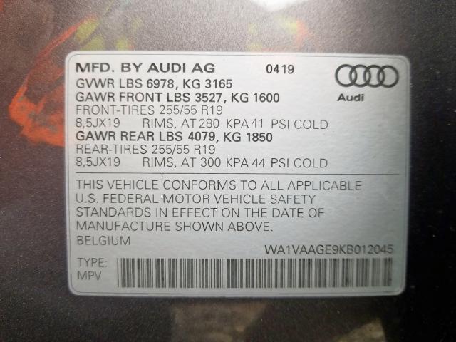 2019 Audi E-TRON PRESTIGE | Vin: WA1VAAGE9KB012045