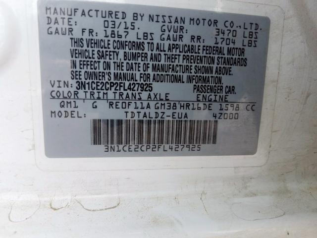 2015 Nissan  | Vin: 3N1CE2CP2FL427925
