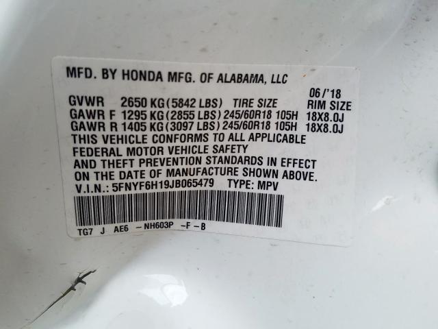 2018 Honda PILOT | Vin: 5FNYF6H19JB065479