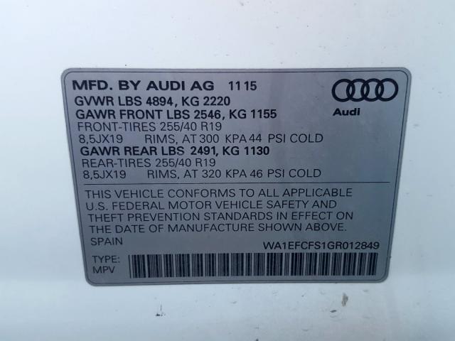2016 Audi Q3 PREMIUM PLUS | Vin: WA1EFCFS1GR012849