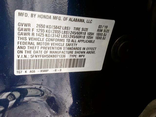 2019 Honda PILOT | Vin: 5FNYF6H50KB071336