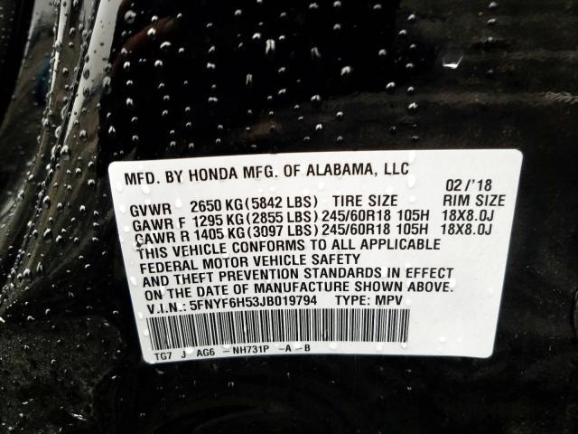 2018 Honda    Vin: 5FNYF6H53JB019794