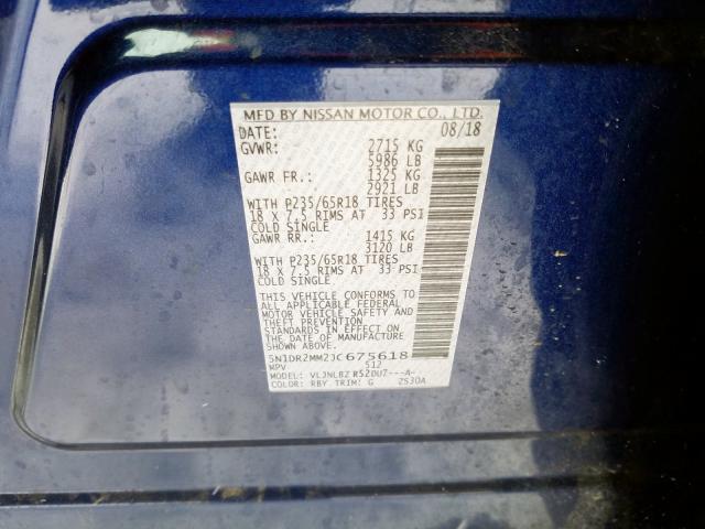 2018 Nissan PATHFINDER | Vin: 5N1DR2MM2JC675618
