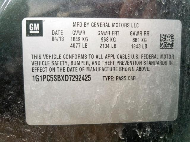 2013 Chevrolet    Vin: 1G1PC5SBXD7292425