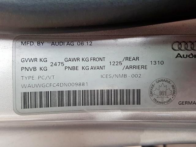 2013 Audi A7 | Vin: WAUWGCFC4DN009881