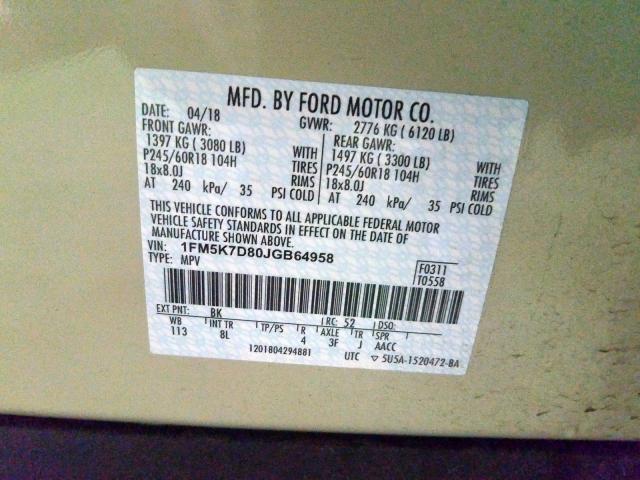 2018 Ford  | Vin: 1FM5K7D80JGB64958