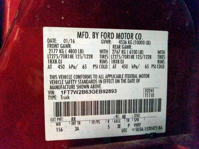 2016 Ford F250 | Vin: 1FT7W2B63GEB92893