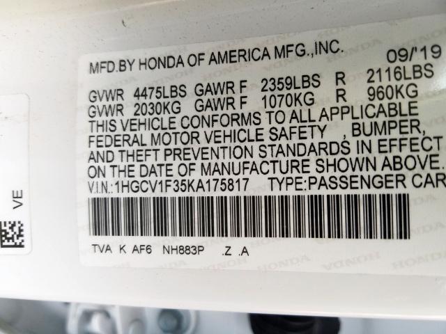 2019 Honda ACCORD | Vin: 1HGCV1F35KA175817