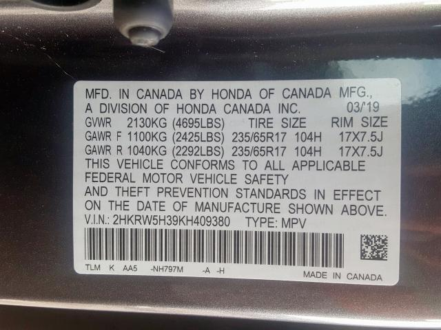 2019 Honda  | Vin: 2HKRW5H39KH409380
