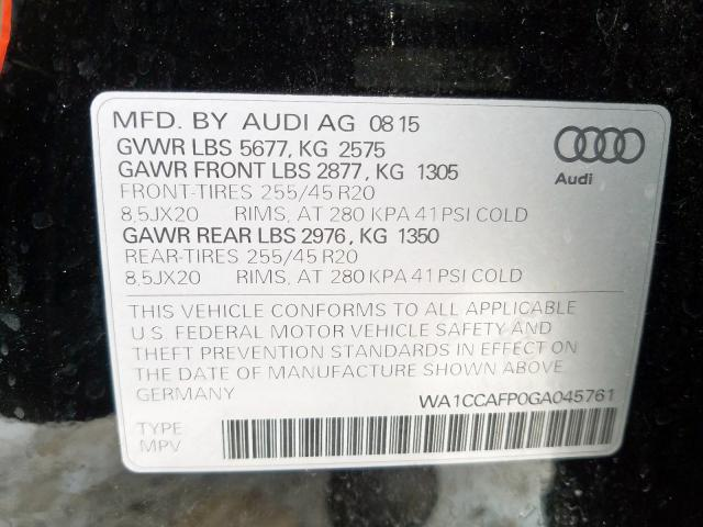 2016 Audi SQ5 PREMIUM PLUS | Vin: WA1CCAFP0GA045761