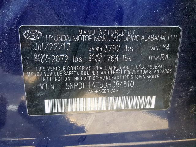 2013 Hyundai  | Vin: 5NPDH4AE5DH384510