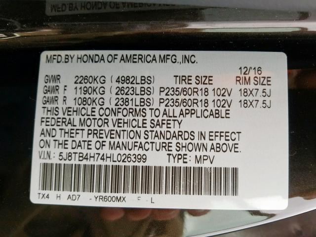 2017 Acura RDX ADVANCE | Vin: 5J8TB4H74HL026399