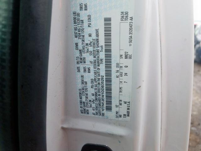 2013 Ford    Vin: 1FTNE2EW1DDB35292