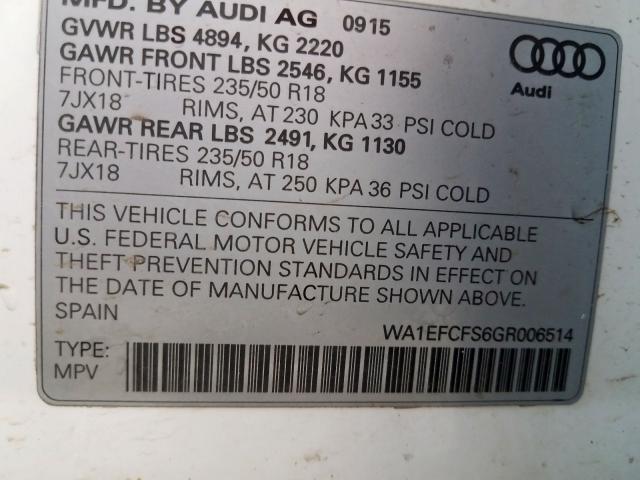 2016 Audi Q3 PREMIUM PLUS | Vin: WA1EFCFS6GR006514