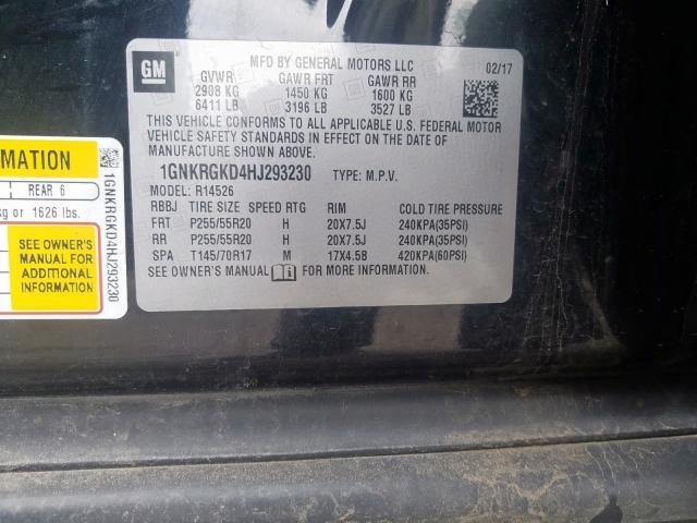 2017 Chevrolet    Vin: 1GNKRGKD4HJ293230