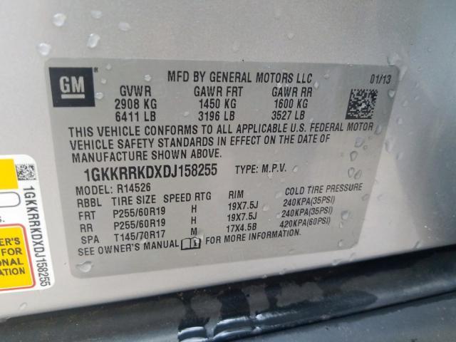 1GKKRRKDXDJ158255 2013 GMC ACADIA SLT-1